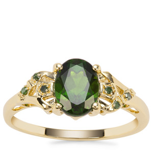 Chrome Diopside Ring with Green Diamond in 9K Gold 1.42cts
