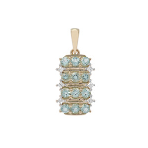Aquaiba Beryl Pendant with White Zircon in 9K Gold 1.32cts
