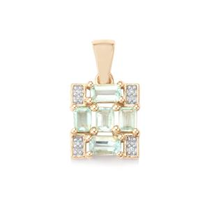 Paraiba Tourmaline Pendant with Diamond in 10K Gold 1.09cts