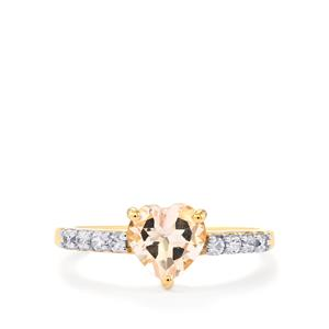 Mutala Morganite Ring with White Zircon in 10k Gold 1.31cts