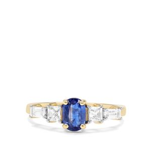 Daha Kyanite & White Zircon 9K Gold Ring ATGW 1.71cts