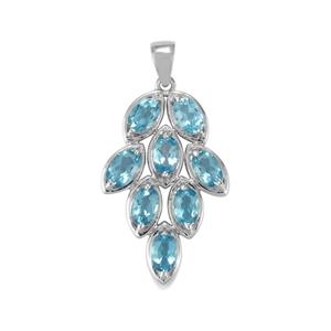 4.16ct Swiss Blue Topaz Sterling Silver Pendant