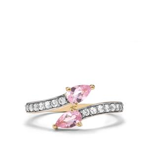 Imperial Pink Topaz & White Zircon 9K Gold Ring ATGW 0.93cts