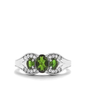 Chrome Diopside & White Topaz Sterling Silver Ring ATGW 1.20cts