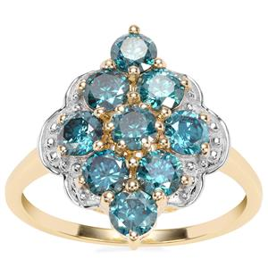 Blue Diamond Ring in 10k Gold 1.59cts