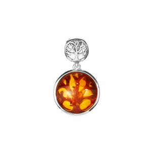 Baltic Cognac Amber (16x16mm) Tree of Life Pendant in Sterling Silver