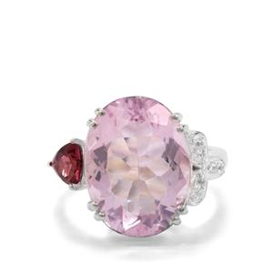 Pink Fluorite Ring with Tourmaline and White Zircon in Sterling Silver 11.73cts