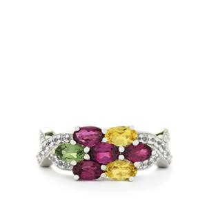 Multi-Color Gemstone Sterling Silver Ring ATGW 2.03cts