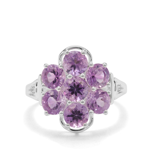 Moroccan Amethyst & White Zircon Sterling Silver Ring ATGW 3.21cts