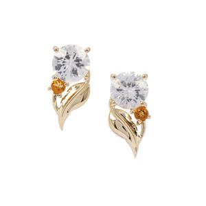 Singida Tanzanian Zircon & Diamantina Citrine 9K Gold Earrings ATGW 1.82cts