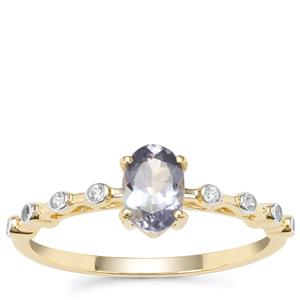 Bi Colour Tanzanite Ring with White Zircon in 9K Gold 0.76ct
