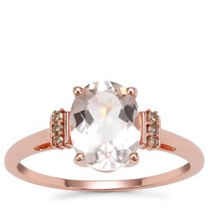 Mozambique Morganite Ring with Champagne Diamond in 9K Rose Gold 1.65cts