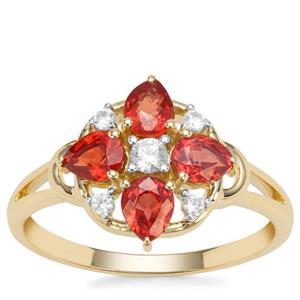 Songea Ruby & White Zircon 9K Gold Ring ATGW 1.29cts