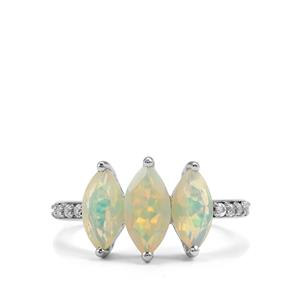Ethiopian Opal Ring with White Topaz in Sterling Silver 1.69cts