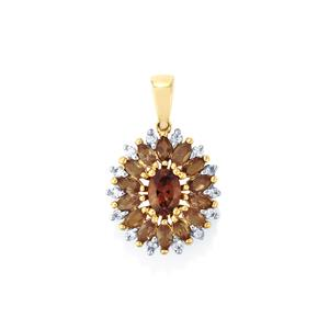 Bekily Color Change Garnet Pendant with White Zircon in 10k Gold 2.34cts