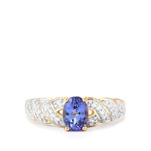 AA Tanzanite Ring with White Zircon in 10K Gold 0.92cts