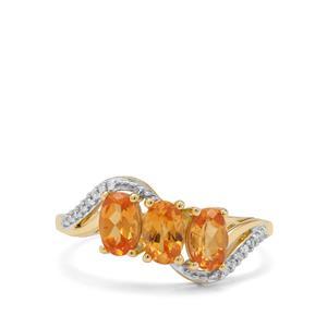 Mandarin Garnet & Diamond 9K Gold Ring ATGW 1.83cts