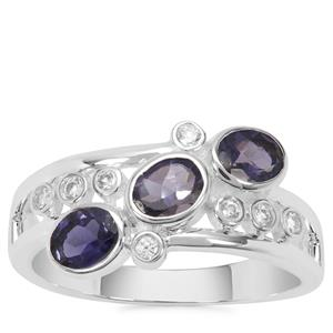 Bengal Iolite Ring with White Zircon in Sterling Silver 1cts