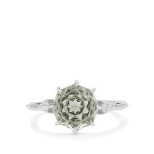 Efflorescence Prasiolite & White Zircon Sterling Silver Ring ATGW 3.05cts