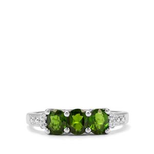 Chrome Diopside & White Zircon Sterling Silver Ring ATGW 1.23cts