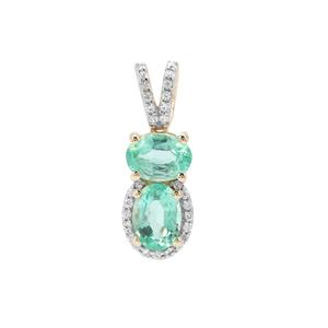 Malysheva Russian Emerald Pendant with White Zircon in 9K Gold 1.77cts