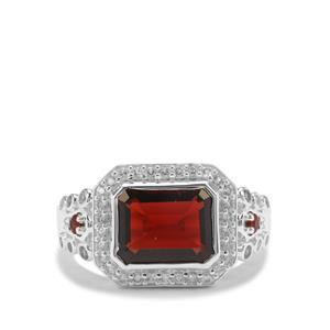 Nampula Garnet Ring with White Zircon in Sterling Silver 4.74cts
