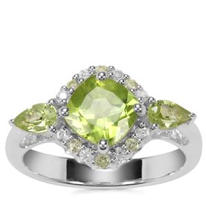Changbai Peridot with White Zircon Ring in Sterling Silver 2.42cts