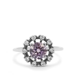 Rose du Maroc Amethyst Ring with White Zircon in Sterling Silver 1.72cts