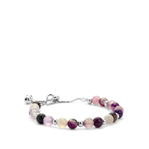 Purple Agate Slider Bracelet in Rhodium Flash Sterling Silver 31.23cts