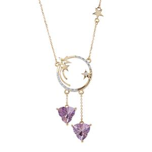 Lehrer Infinity Cut Zambian Amethyst Necklace with Diamond in 9K Gold 3.44cts