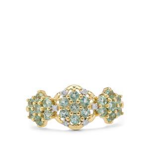 Aquaiba™ Beryl Ring with Diamond in 9K Gold 0.70ct