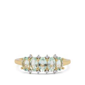 Aquaiba™ Beryl Ring with Diamond in 9K Gold 1.15cts