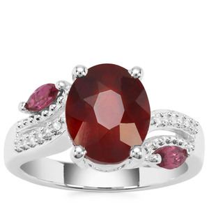 Hessonite Garnet Ring with Rajasthan Garnet & White Zircon in Sterling Silver 4.70cts