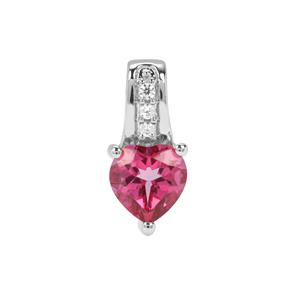 Mystic Pink Topaz Pendant with White Zircon in Sterling Silver 1.53cts