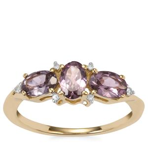 Mahenge Purple Spinel Ring with Diamond in 10K Gold 1.41cts