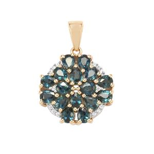 Natural Nigerian Sapphire Pendant with White Zircon in 9K Gold 3cts