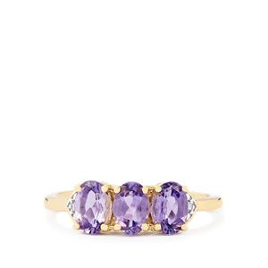Purple Scapolite & Diamond 9K Gold Ring ATGW 1.08cts