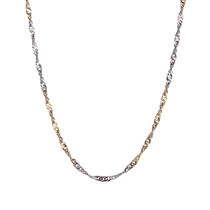 "16"" 9K Two Tone Gold Couture Singapore Chain 1.96g"