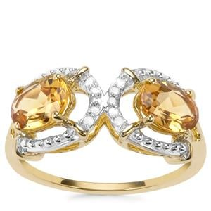 Mansa Beryl Ring with Diamond in 9K Gold 1.50cts