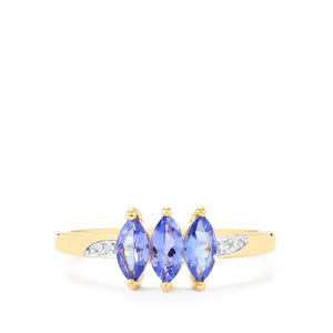 AA Tanzanite Ring with Ceylon White Sapphire in 10k Gold 0.77cts