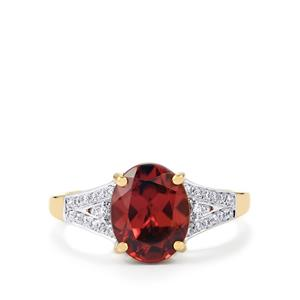 Zanzibar Zircon Ring with Diamond in 14K Gold 4.18cts