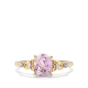 Mawi Kunzite Ring with Diamond in 9K Gold 1.85cts