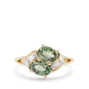 Green Sapphire & White Zircon 9K Gold Tomas Rae Ring ATGW 2.44cts
