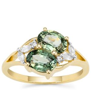 Green Sapphire Ring with White Zircon in 9K Gold 2.44cts