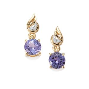 AA Tanzanite & Diamond 10K Gold Earrings ATGW 1.50cts