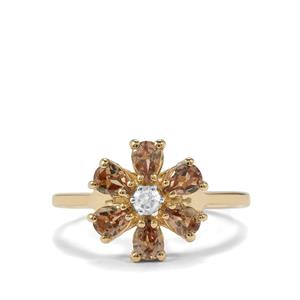 Tsivory Colour Change Garnet Ring with White Zircon in 10K Gold 1.29cts