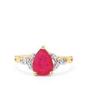 Montepuez Ruby Ring with Diamond in 10k Gold 1.78cts