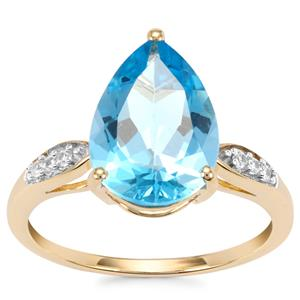 Swiss Blue Topaz Ring with White Zircon in 10K Gold 4.51cts