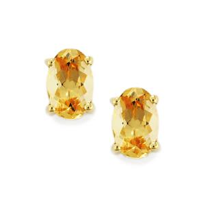 Ouro Preto Imperial Topaz Earrings in 9K Gold 1.03cts