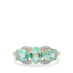 Siberian Emerald Ring with White Zircon in 9K Gold 2.25cts